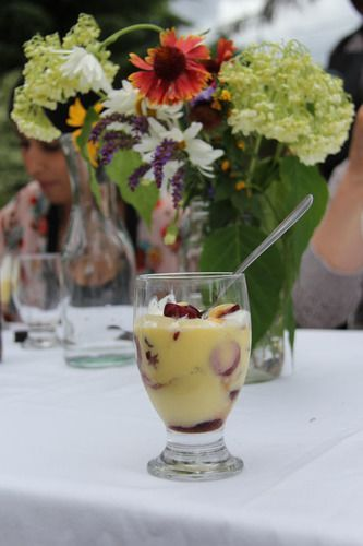 Cherry Trifle with Organic Custard and Monte Creek Wine