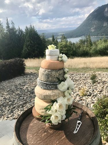 Cake made of cheese at Shuswap wedding