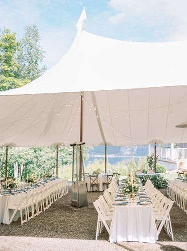 White Tent and Tables at Shuswap Wedding